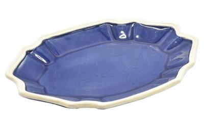 Travessa casual M azul denim com borda faiança (31 x 43 cm)