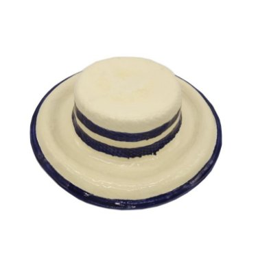 Chapéu faiança com listras azuis