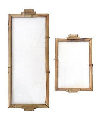 Bandeja bambu e vidro (duo)