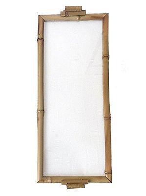 Bandeja bambu e vidro 17x41cm