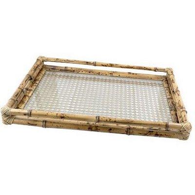 Bandeja bambu palha dourada M