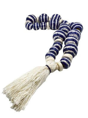Pendantif tie dye azul e faiança e seda cru Zanatta Casa