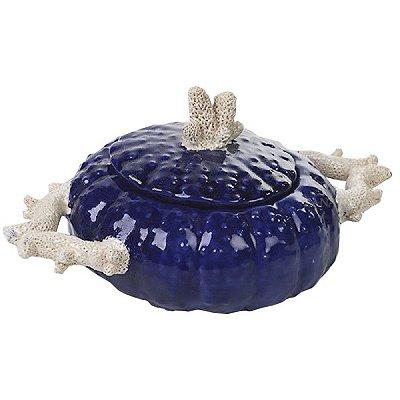 Bowl ouriço azul e coral faiança