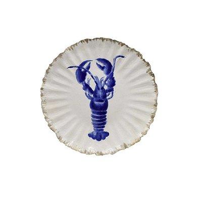 Prato sobremesa amassado com desenho lagosta azul