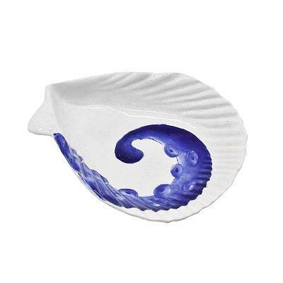 Mini petisqueira concha com desenho polvo azul