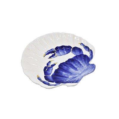 Prato sobremesa concha branco desenho caranguejo azul