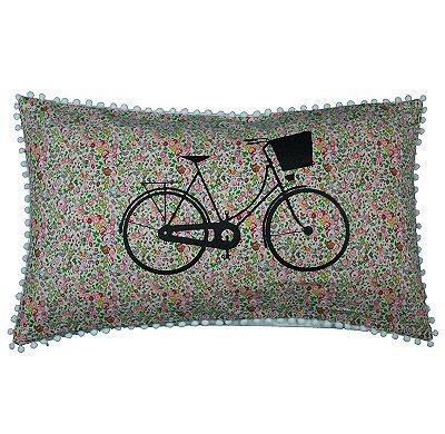Capa de Almofada Bicicleta Flores Rosa 31 x 50 cm