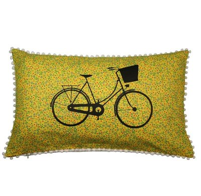 Capa de Almofada Bicicleta Flores Amarelas 31 x 50 cm