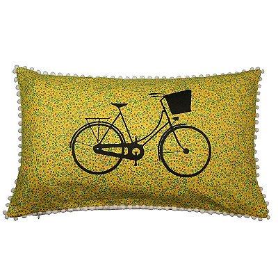 Almofada Bicicleta Flores Amarelas 31cm x 50cm