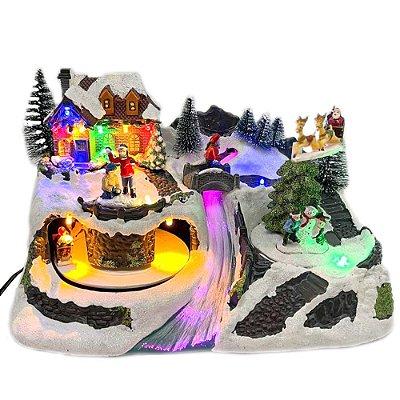 Brinquedo de natal vila com rio, túnel e trenó Ref: AC 853