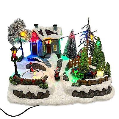 Brinquedo de natal casinha com árvores, trenzinho e patinadores Ref: AC 860