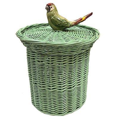 Lixeira celadon com passarinho