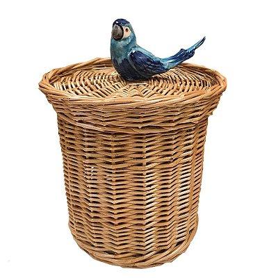 Lixeira vime natural  com passarinho azul