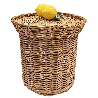 Lixeira de vime com limão siciliano