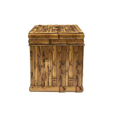 Lixeira de madeira e bambu