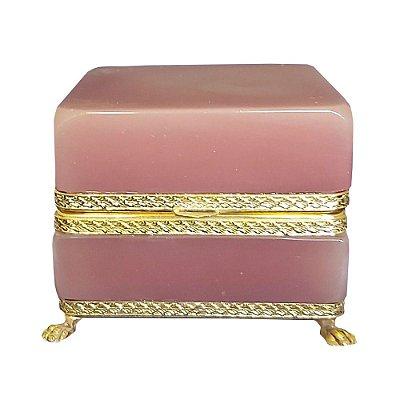 Caixa em opalina rosa francesa