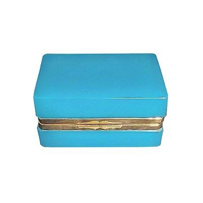 Caixa em opalina azul