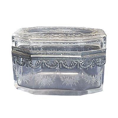 Caixa  Portuguesa Cristal com Aplique Em Prata