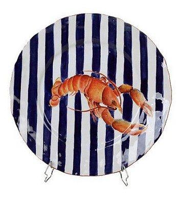 Sousplat com listras azul e lagosta zanatta casa