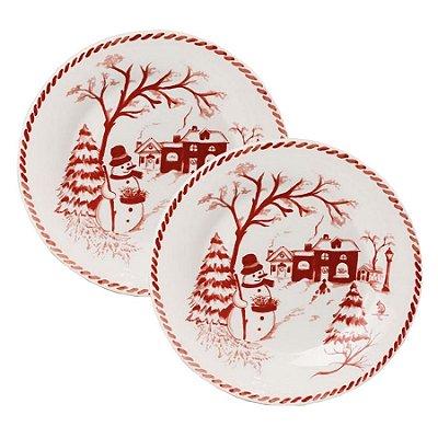 Prato sobremesa boneco de neve vermelho (cj 2)