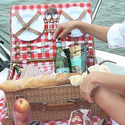 Cesta de picnic provence vichy vermelha