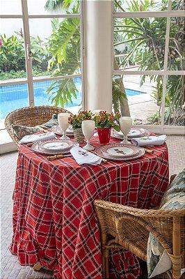 Toalha de mesa xadrez vermelha com babados redonda (2,10m)
