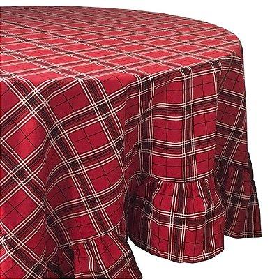 Toalha de mesa xadrez vermelha com babados 1,80 x  4,70m
