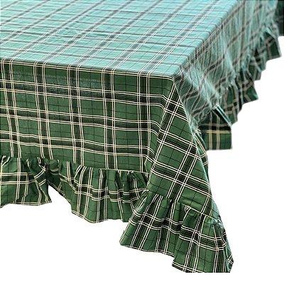 Toalha de mesa xadrez verde com babados redonda (2,10m)