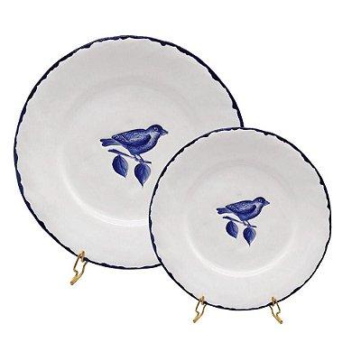 Prato raso e sobremesa passarinho azul