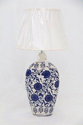 Abajur Cerâmica Azul e Branco