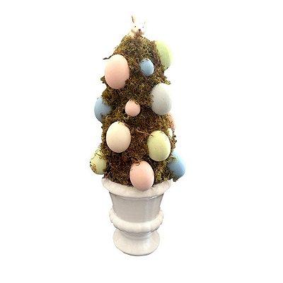 Árvore de Topiaria e Ovos de Páscoa com Vaso Off white