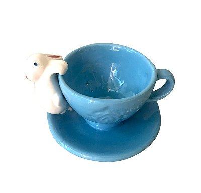 Xícara azul com Coelho de Cerâmica