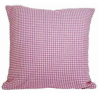 Almofada xadrez rosa 48x48 cm