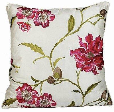 Almofada Flores Bordadas Seda 48x48