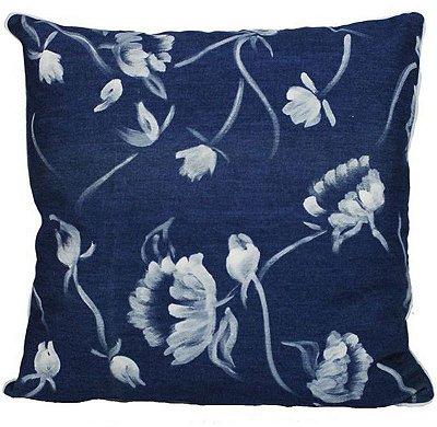 Almofada Flores Pinceladas Jeans 48x48