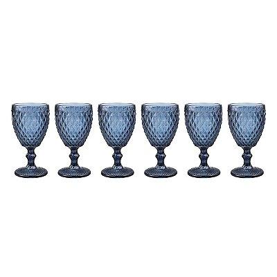 Taça de Água Bico de Abacaxi Azul (cj com 6)