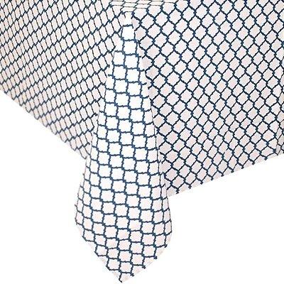 Toalha de Mesa Casulos Azul e Branca 1,80x 3,00