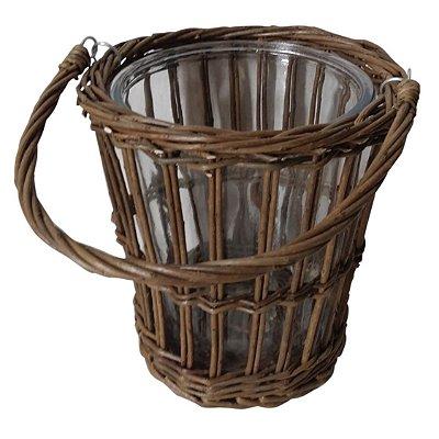 Porta Vela/Vaso de Vime e Vidro