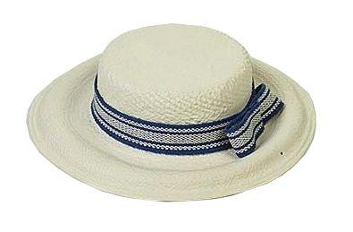 Chapéu Palha em Cerâmica fita azul