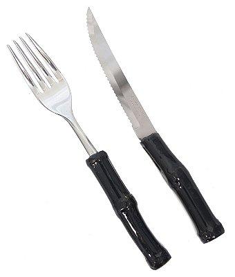 Garfo e Faca de jantar Bambu Black