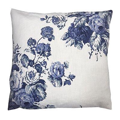 Capa de Almofada Floral Azul e Branca 53x50 cm