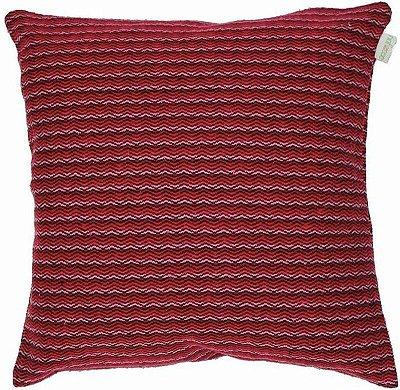 Capa de Almofada listras vermelha e rosa ecossustentável 45x45 cm