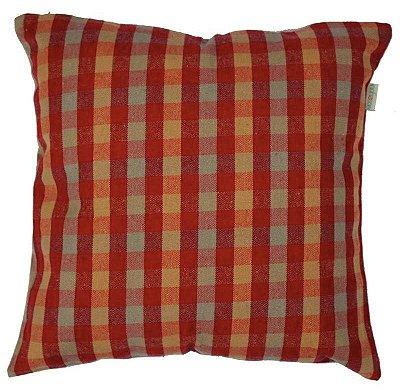 Capa de Almofada Xadrez Vermelho Ecossustentável 45x45 cm
