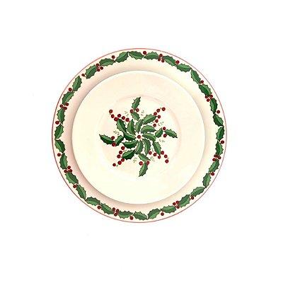Prato raso e sobremesa Flores Natal (duo)