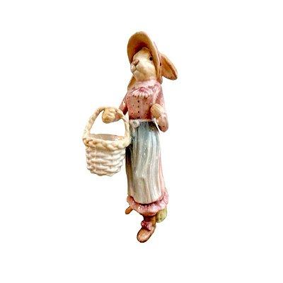 Coelha de cerâmica Rosè com Cesta Zanatta Casa