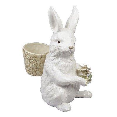 Coelha com Cesta Grande em cerâmica Zanatta Casa