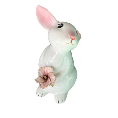 Coelha em cerâmica com Hibisco