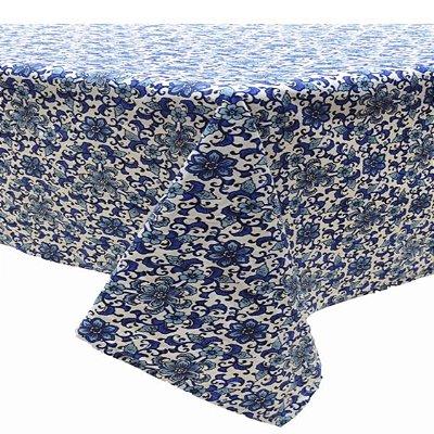 Toalha de mesa florida azul royal (1,80 x 3m)