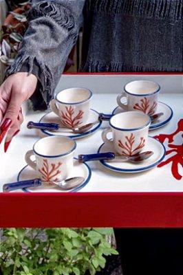 Jogo Xícaras Café Coral (6 unidades)