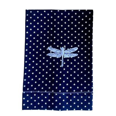 Toalha Lavabo Azul Estrelinha com Libélula